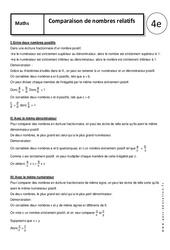 Comparaison de nombres relatifs – 4ème – Cours – Ecriture fractionnaire