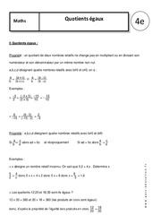 Quotients égaux – 4ème – Cours – Nombres relatifs en écriture fractionnaire