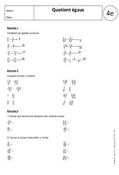Quotients égaux – 4ème – Exercices corrigés – Nombres relatifs en écriture fractionnaire