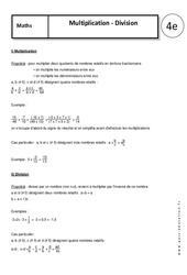 Multiplication - Division – 4ème – Cours – Nombres relatifs en écriture fractionnaire