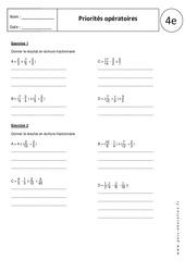 Priorités opératoires – 4ème – Exercices corrigés – Nombres relatifs en écriture fractionnaire