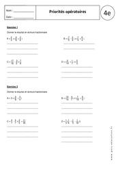 Priorités opératoires – Exercices corrigés – 4ème - Ecriture fractionnaire