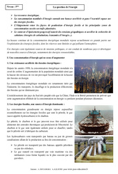 La question de l'énergie – Cours – 5ème – Géographie