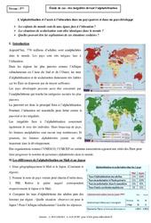 Inégalités devant l'alphabétisation – Etude de cas – 5ème – Géographie