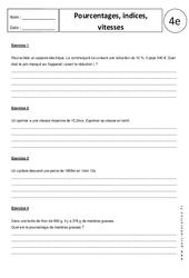 Pourcentages – Indices – Vitesses – Exercices corrigés – 4ème