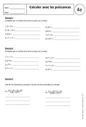 Calculer avec les puissances – 4ème – Exercices corrigés