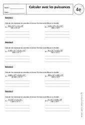 Calculer avec les puissances –  Exercices corrigés – 4ème