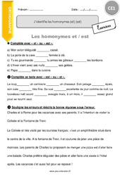 J'identifie les homonymes [et] [est] – CE1 – Exercices à imprimer
