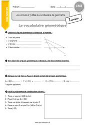 Je connais et j'utilise le vocabulaire de géométrie - CM2 - Exercices à imprimer