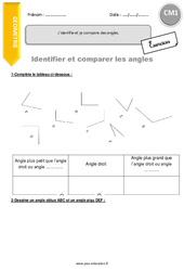 J'identifie et je compare des angles – CM1 – Exercices à imprimer