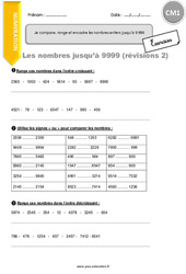 Je compare, range et encadre les nombres entiers jusqu'à 9 999 – CM1 – Exercices avec correction