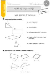 J'identifie et je compare les angles – CM1 – Révisions à imprimer