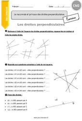 Je reconnais et je trace des droites perpendiculaires - CM2 - Exercices avec correction