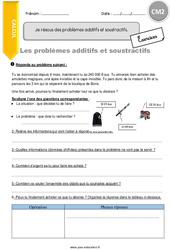 Je résous des problèmes additifs et soustractifs - CM2 - Exercices à imprimer