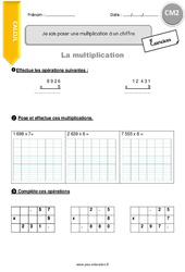 Je sais poser une multiplication à un chiffre - CM2 - Exercices à imprimer