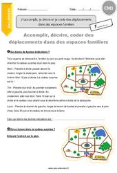 J'accomplis, je décris et je code des déplacements dans des espaces familiers – CM1 – Exercices avec correction