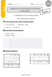J'additionne des nombres entiers et je soustrais des nombres entiers – CM1 – Exercices avec correction