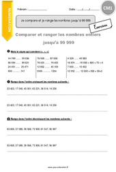Je compare et je range les nombres jusqu'à 99 999 – CM1 – Exercices à imprimer