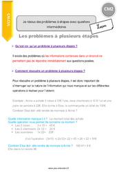 Je résous des problèmes à étapes avec questions intermédiaires - CM2 - Leçon