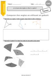 Je compare des angles en utilisant un gabarit – CM1 – Exercices à imprimer