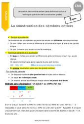 Je soustrais des nombres entiers (sens de la soustraction et technique opératoire de la soustraction posée) – CM1 – Leçon