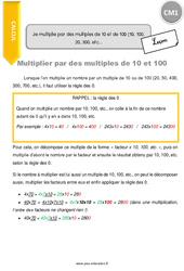 Je multiplie par des multiples de 10 et de 100 (10, 100, 20, 300, etc) – CM1- Leçon