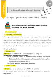 Je découvre le lexique de la recette de cuisine - CE1 - Leçon