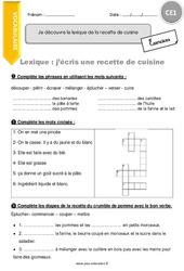 Je découvre le lexique de la recette de cuisine - CE1 - Exercices avec correction
