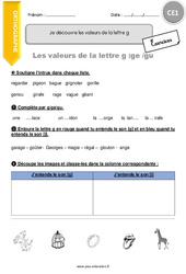 Je découvre les valeurs de la lettre g - CE1 - Exercices à imprimer