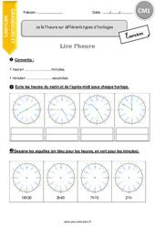 Je lis l'heure sur différents types d'horloges - CM1 - Exercices à imprimer