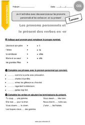 Je m'entraîne avec des exercices sur les pronoms personnels et les verbes en -er au présent - CE1 - Exercices à imprimer
