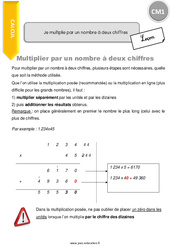 Je multiplie par un nombre à deux chiffres - CM1 - Leçon