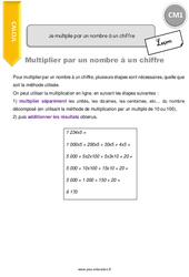 Je multiplie par un nombre à un chiffre - CM1 - Leçon