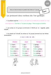 Découvrir les terminaisons du présent des verbes du 1er groupe - CE2 - Leçon