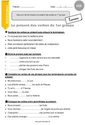 Découvrir les terminaisons du présent des verbes du 1er groupe - CE2 - Exercices à imprimer