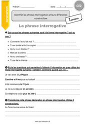 Identifier les phrases interrogatives et leurs différentes constructions – CE2 – Exercices à imprimer