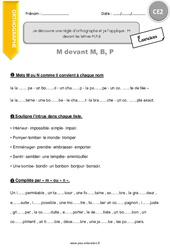 Je découvre une règle d'orthographe et je l'applique : M devant les lettres M,P,B - CE2 - Exercices à imprimer