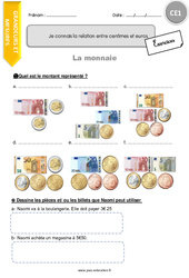 Je connais la relation entre centimes et euros – CE1 – Exercices à imprimer