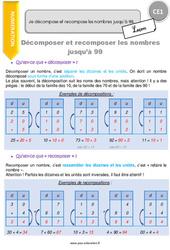 Je décompose et recompose les nombres jusqu'à 99 – CE1 – Leçon