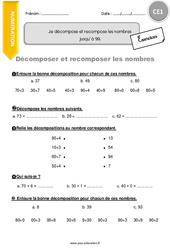Je décompose et recompose les nombres jusqu'à 99 – CE1 – Exercices à imprimer