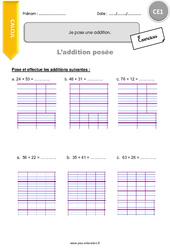 Je pose une addition – CE1 – Exercices à imprimer