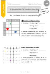 Je repère les cases et les nœuds d'un quadrillage – CE1 – Exercices à imprimer