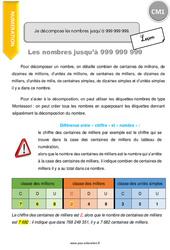 Je décompose les nombres jusqu'à 999 999 999 – CM1 – Leçon