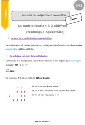 J'effectue des multiplications à deux chiffres – CM2 – Leçon