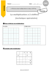 J'effectue des multiplications à deux chiffres - CM2 - Exercices avec correction