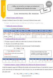Masse et conversions de masses – CM2 – Leçon