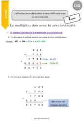 J'effectue des multiplications à deux chiffres et avec un zéro intercalé – CM2 – Leçon