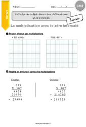 J'effectue des multiplications à deux chiffres et avec un zéro intercalé - CM2 - Exercices avec correction