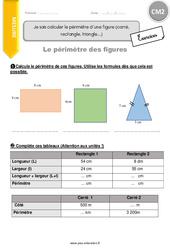 Je sais calculer le périmètre d'une figure (carré, rectangle, triangle…) – CM2 – Exercices à imprimer