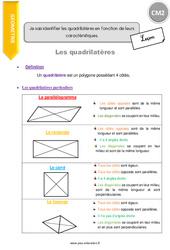 Je sais identifier les quadrilatères en fonction de leurs caractéristiques – CM2 – Leçon